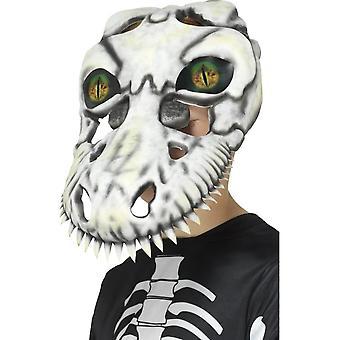 T-Rex Skull Mask, White, Green, EVA, with Lenticular 3D Print Eyes