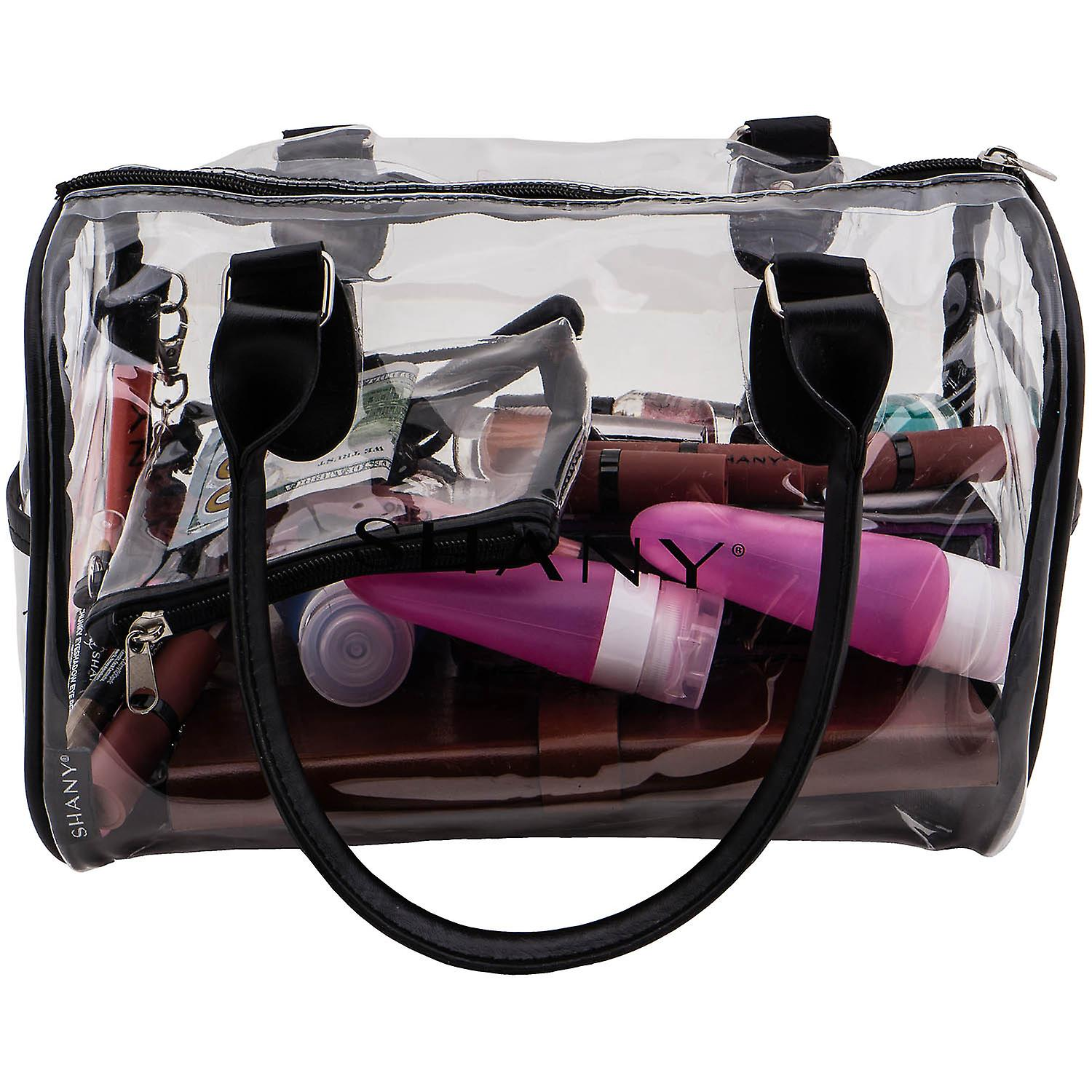 SHANY Clear Waterproof Carryall Handbag -  See-Thru PVC Tote Bag with Faux Leather Handles, Open Side Pockets and Detachable Cosmetic Bag