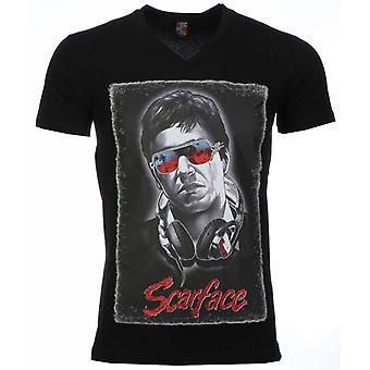 T-shirt-Scarface Headphone Print-Black
