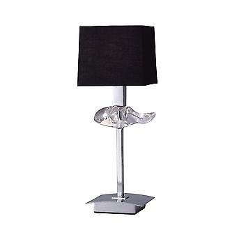 Mantra Akira Table Lamp 1 Light E14, Polished Chrome With Black Shade