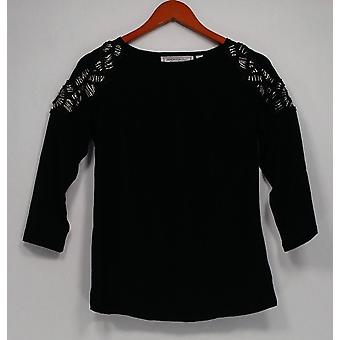 George Simonton Women's Top Milky Knit w/ Beaded Detail Black A240778