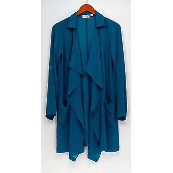 Joan Rivers Classics Coll. top XXS Soft crepe Cascade front Teal blå A275601