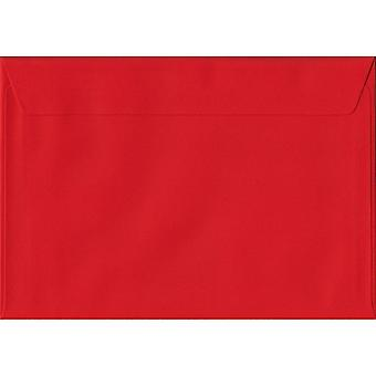 Poppy Red Peel/Seal C6/A6 Coloured Red Envelopes. 100gsm FSC Sustainable Paper. 114mm x 162mm. Wallet Style Envelope.