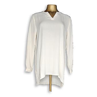 سوزان Graver النساء & s أعلى الريش نسج طويل الأكمام قميص العاج A267999