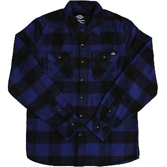 Dickies Sacramento Long Sleeve Flannel Shirt Evening Blue