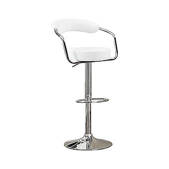 Round seat bar stool with gas lift white and silver set of 2