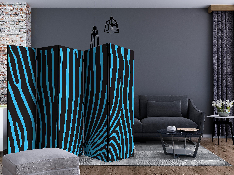 Paravent 5 volets - Zebra pattern (turquoise) [Room Dividers]
