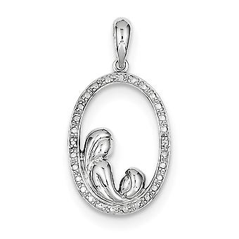 925 Sterling Silver Polished Rhodium plated Rhodium Plated Diamond Mother and for boys or girls Pendant Necklace
