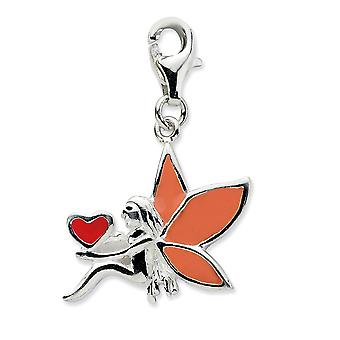 925 Sterling Silver Rhodium plated Fancy Lobster Closure Enameled Fairy With Love Heart W Lobster Clasp Charm Pendant Ne