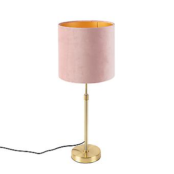 QAZQA Mesa de ouro / latão com tonalidade velor rosa 25 cm - Parte
