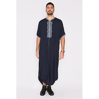 Gandoura anwar men's long robe short sleeve casual thobe in dark blue