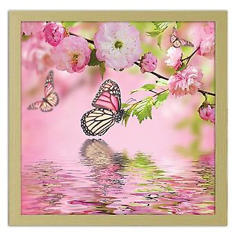 Picture In Natural Frame, Butterfly Among The Flowers