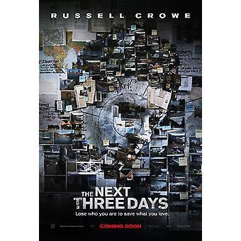 Die nächsten drei Tage Poster (Russell Crowe) Doppelseitige Vorschuss (2010) Original Kino Poster