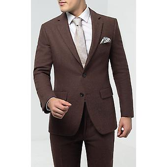 Dobell Mens Brown Flannel Suit Kurtka RegularFit