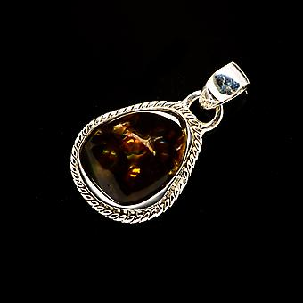 Mexican Fire Agate 925 Sterling Silver Pendant 1 1/4