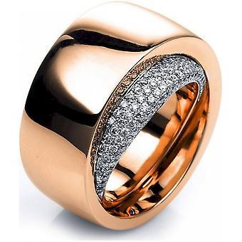 Anillo de diamantes - oro rojo 18K 750 - oro blanco - 0.49 ct.