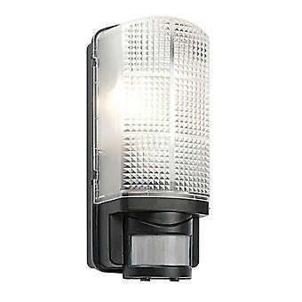 Saxby Lighting Motion Pir 1 Light Outdoor PIR Wall Light Frosted, Black IP44 48739