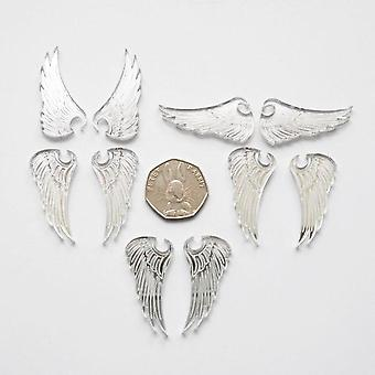 5 Pairs of Angel Wings Mini Craft Sized Acrylic Mirrors (10Pk)
