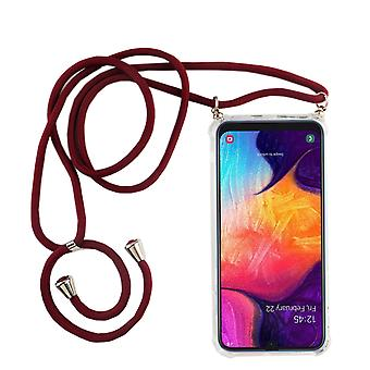 Phone Chain for Samsung Galaxy A50 - Smartphone Necklace Case with Band - Cord with Case to Hang in Red