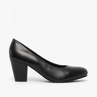 Comfort Plus Jane Ladies Leather Court Shoes Black