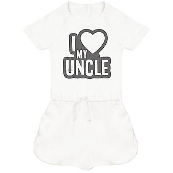 I Love My Uncle Black Outline Baby Playsuit