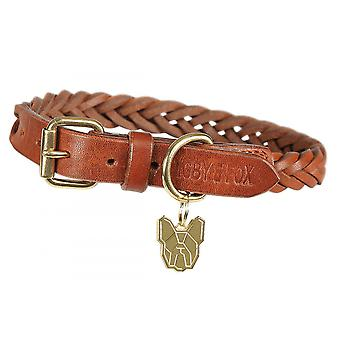 Shires Digby et Fox Plaited Dog Collar - Tan
