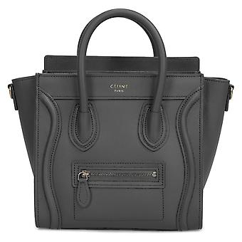 Celine Nano bagage pose i glat sort kalveskind læder