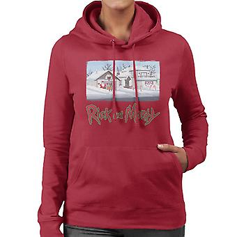 Rick and Morty Smith Snow Covered House Women's Hooded Sweatshirt