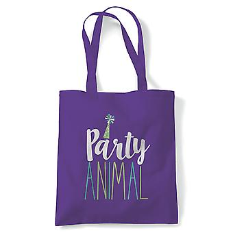 Party Animal Tote | Happy Birthday Celebration Party Getting Older | Reusable Shopping Cotton Canvas Long Handled Natural Shopper Eco-Friendly Fashion