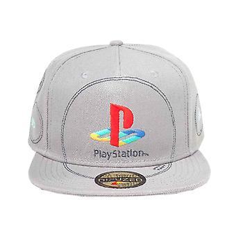 PlayStation baseballový stříbrný klasický logo nový oficiální šedý SnapBack