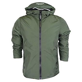 Weekend Offender Marciano Nylon Zip Up Hooded Khaki Jacket