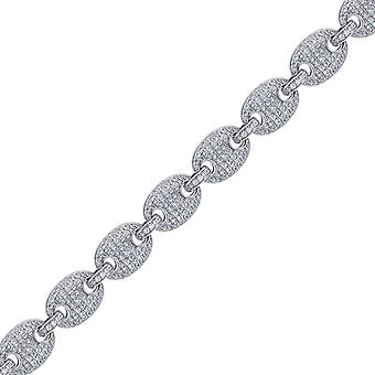 925 Sterling Silver Mens CZ Cubic Zirconia Simulated Diamond Pave 10mm 30 Inch Puff Mariner Link Chain Jewelry Gifts for