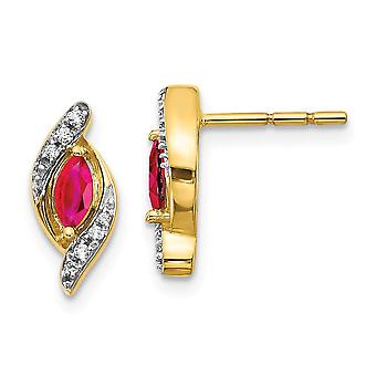 5mm 14k Diamond and Ruby Earrings Jewelry Gifts for Women - .07 dwt .36 cwt