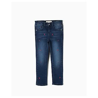 Zippy Denim Pants With Heart Detail