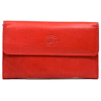 Ladies / Womens Leather Slim Purse with Magnetic Popper Opening - Cerise