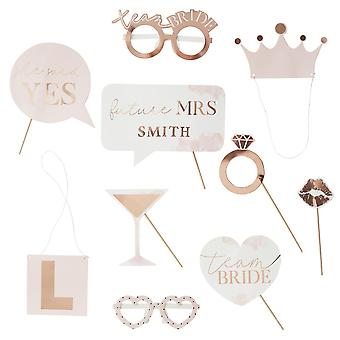 Customisable Rose Gold Hen Party Props x 10 - Bridal Shower