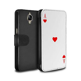 STUFF4 PU Leather Wallet Flip Case/Cover for OnePlus 3/3T/Ace of Hearts/Playing Cards