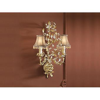 Schuller Verdi - Wall lamp of 2 lights made of metal, ivory and gold finish. Faceted glass beads. - 480531
