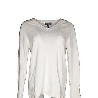 Attitudes By Renee Women's Sweater Cotton And Cashmere V-Neck Ivory A373241