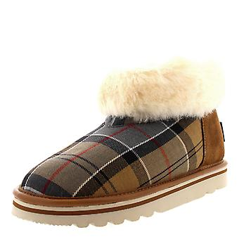 Womens Barbour Ashley Boot Tartan Winter Faux Fur Warm Slipper Ankle Boot