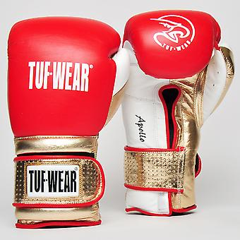 Tuf Wear Apollo Hook and Loop Metallic Leather Sparring Glove Rouge / Blanc / Or Rose