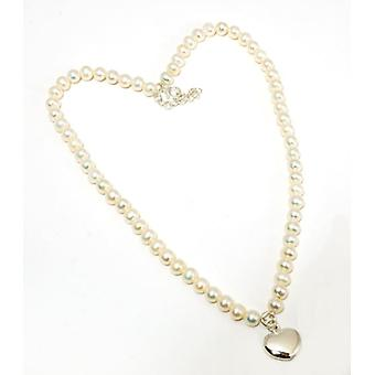 Toc Sterling Silver 16 Inch Pearl Necklace with Puffed Heart Charm