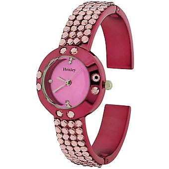 Henley Glamour Ladies Bling Crystal Pink Faceted Glass Watch H07128.5