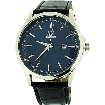 AN London Gents Jumbo Navy Dial Date PU Black Croc Effect Strap Watch AN1017L