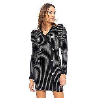 Knitted dress with puffed sleeve, Lurex Stripes and Buttons