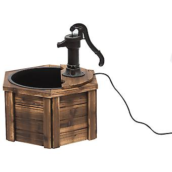 Outsunny 220V Wooden Electric Water Fountain Garden Ornament w/ Hand Pump Plastic Well Classic Water Pump Feature Decoration Suitable For Garden Patio Oasis