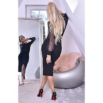 Grace Organza Mesh Sleeves Wrap Dress - Ladies - Black