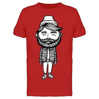 Cute Bearded Boy Drawing Tee Men's -Image by Shutterstock