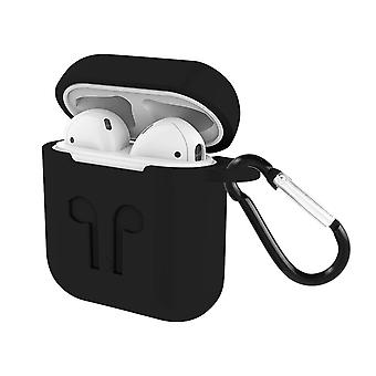Soft Case for Airpods 1 / 2 Anti-fingerprint Anti-Scratch with Carabiner- Black