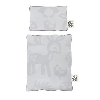 Sebra - dolls bed linen - forest grey